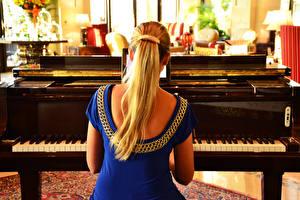 Fonds d'écran Piano à queue Dos Blondeur Fille jeune femme