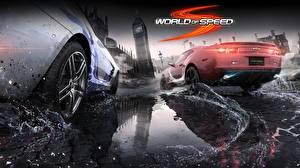 Fondos de escritorio Salpicadura de agua Charco World of Speed videojuego Coches