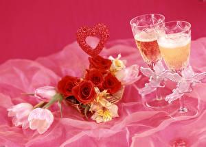 Images Rose Tulip Alstroemeria Champagne Stemware 2 Heart Flowers Food
