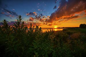 Fotos USA See Sonnenaufgänge und Sonnenuntergänge Himmel Michigan Wolke Lake St Clair Natur