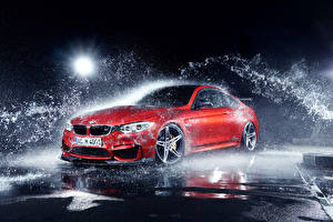 桌面壁纸,,BMW,红色,水濺,M4 Coupe F82 by AC-Schnitzer Export Version,汽车