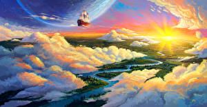 Images Planets Ship Rivers Clouds Fantasy
