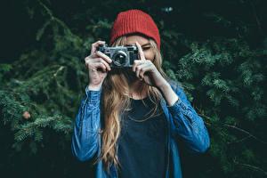 Fotos Fotoapparat Mütze Fotograf Contax Mädchens