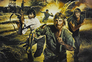 Desktop wallpapers Chuck Norris Man Painting Art Missing in Action 2 The Beginning Colonel James Braddock Movies Celebrities