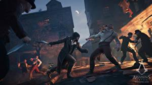 Bilder Assassin's Creed Syndicate Assassin's Creed Mann Kapuze Schlägerei Spiele