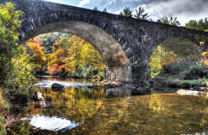 Hintergrundbilder Vereinigte Staaten Flusse Brücken Park Herbst HDR Babcock State Park Natur
