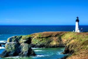 Bilder USA Küste Leuchtturm Steine HDRI Yaquina Head Natur