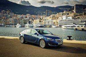 Bilder Opel Küste Blau 2014 Vauxhall Insignia Hatchback Städte