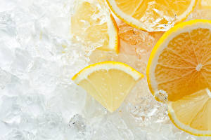 Image Lemons Orange fruit Closeup Ice Food