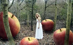 Fotos Wald Äpfel junge Frauen