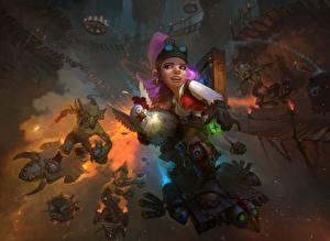 Bilder Gnom Haushuhn Hearthstone: Heroes of Warcraft Goblin Goblins vs Gnomes Spiele Fantasy Mädchens