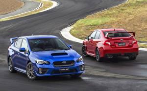 Bilder Subaru 2 Blau Rot Impreza WRX STI Autos