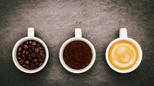 Bilder Kaffee Getränke Großansicht Cappuccino Drei 3 Tasse Getreide  Lebensmittel