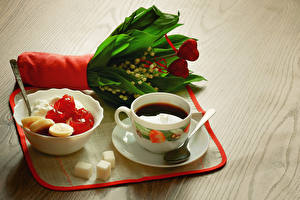 Wallpapers Drink Coffee Sweets Bouquet Lilies of the valley Food Flowers