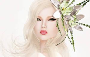 Hintergrundbilder Blond Mädchen Haar Gesicht Blick junge frau Blumen 3D-Grafik