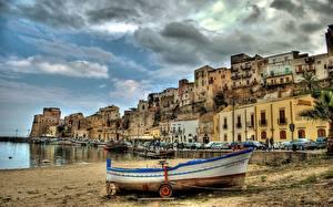 Sfondi desktop Italia Piccola barca Edificio Sicilia Lungomare Castellammare del Golfo