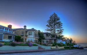 Fotos Vereinigte Staaten Haus Kalifornien Stadtstraße Bäume HDRI Newport Beach Städte