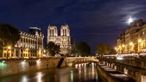 Bakgrunnsbilder Frankrike Bygning Elver Elv Broer Paris Natt Gatebelysning Byer