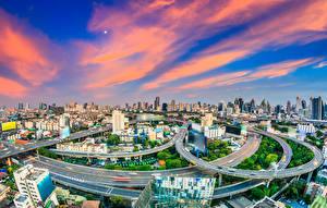 Sfondi desktop Thailandia La casa Ponti Cielo Strade Bangkok Megalopoli Città