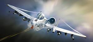 Bilder Jagdflugzeug Flugzeuge A-10 Thunderbolt II Schlachtflugzeug Warthog