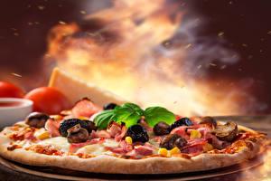 Bilder Fast food Pizza Pilze Lebensmittel