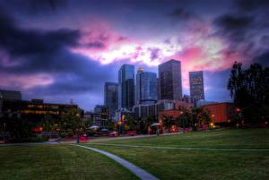 Fotos Vereinigte Staaten Haus Himmel Los Angeles Rasen HDR Städte