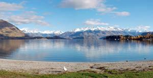 Picture Lake Mountains New Zealand Scenery Lake Wanaka Nature