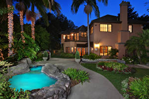 Wallpapers Building Mansion Lawn Trees Night time Pools San Juan Capistrano Cities