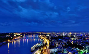 Photo Houses Rivers Bridges Serbia Night time Novi Sad Cities