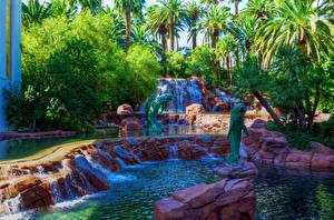 Fotos USA Park Wasserfall Las Vegas Palmengewächse Natur