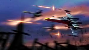 Bureaubladachtergronden Star Wars Schepen Schieten X-Wing Fantasy Ruimte
