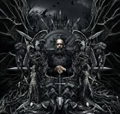 Bakgrundsbilder på skrivbordet Vin Diesel Män Gotisk fantasi The Last Witch Hunter Skägg Svärd Tron 2015 Filmer Kändisar