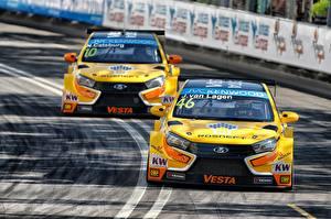 Wallpaper Lada 2 Yellow Front 2015 Vesta WTCC automobile