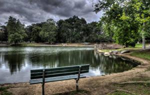 Bilder Vereinigte Staaten Park Teich Kalifornien Bank (Möbel) HDRI Irvine Regional Park Natur