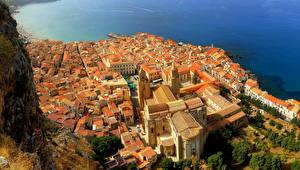 Sfondi desktop Italia La casa Sicilia Vista dall'alto Cefalu