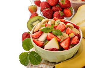 Bilder Obst Salat Erdbeeren Blatt Lebensmittel