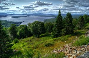 Fotos Vereinigte Staaten See Landschaftsfotografie Wolke Bäume Fichten Gras HDRI Lake Mooselookmaguntic Natur