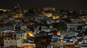 Photo Morocco Houses Night time Fez Cities