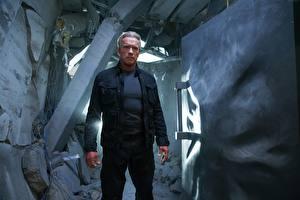 Bureaubladachtergronden Terminator Genisys Arnold Schwarzenegger Een man film Beroemdheden