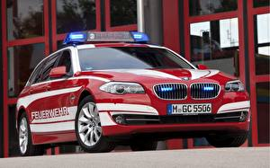 Wallpapers BMW Tuning Red Police 5 Series Touring Feuerwehr automobile