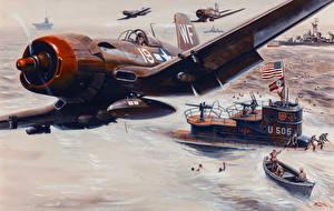 Wallpaper Pictorial art Airplane Submarines War Fighter aircraft Mort Kunstler Army