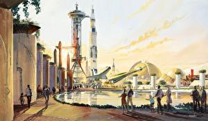 Bilder Malerei Fantastische Welt Rakete Tony Nippel, Space Neotopia Fantasy
