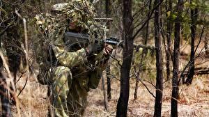 Bureaubladachtergronden Soldaten Scherpschuttersgeweer Scherpschutter Camouflage australian army camouflage