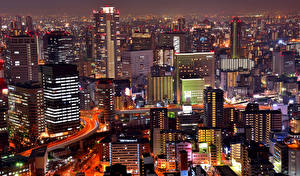 壁纸、、日本、住宅、超高層建築物、メガロポリス、夜、Osaka、都市
