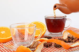 Image Tea Drinks Orange fruit Cinnamon Closeup Cup Food