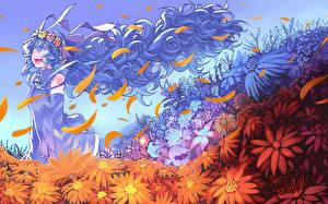 Tapety na pulpit Vocaloid Hatsune Miku Wlosy Dziewczyny Kwiaty