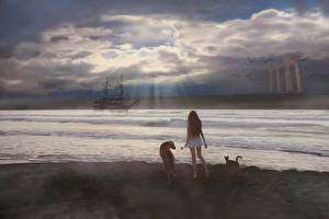 Wallpapers Dogs Cats Ship Clouds Fantasy Girls Animals