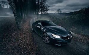 Wallpapers BMW Roads Night time Fog Black m6 auto