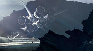 Bureaubladachtergronden Ruimtevaarder Schip space shuttle Fantasy Ruimte