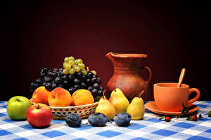 Images Still-life Fruit Apples Grapes Pears Plums Peaches Pitcher Cup